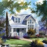Fachada de casa de madera de dos plantas y porche frontal