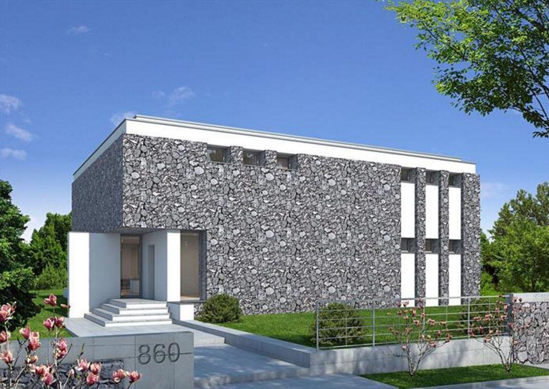 Fachada de casa revestida en piedra y con estilo moderno