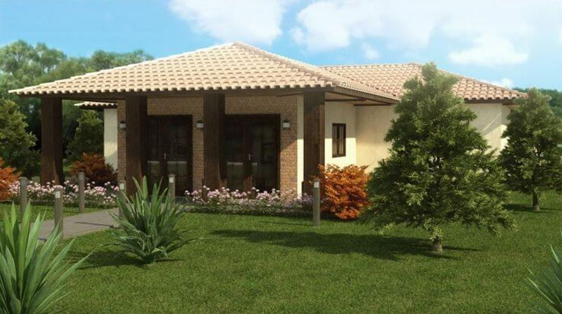 Fachadas de casas con tejas coloniales for Modelos de casas de una planta modernas