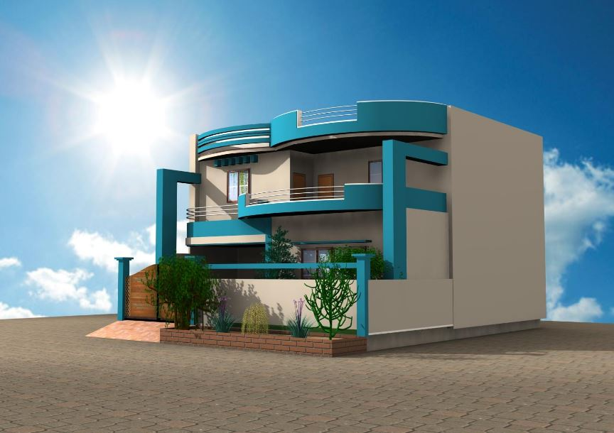 Fachadas de casas con balcon for House designs 3d model