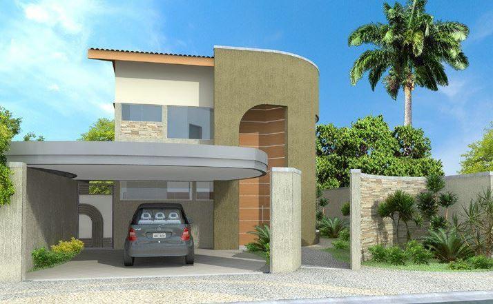 Fachadas de casas con cochera techada