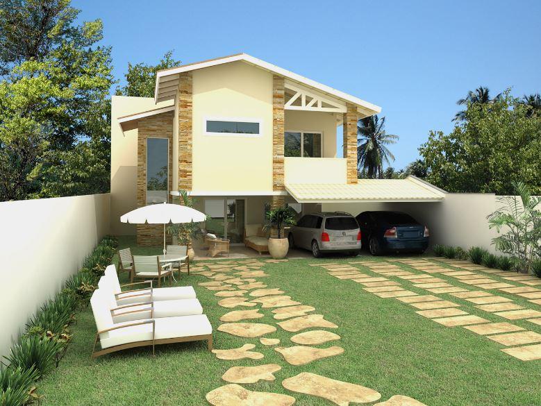 Fachadas de casas con cochera y jardín