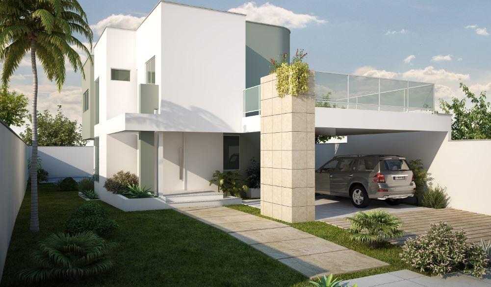 Fachadas de casas con cocheras abiertas