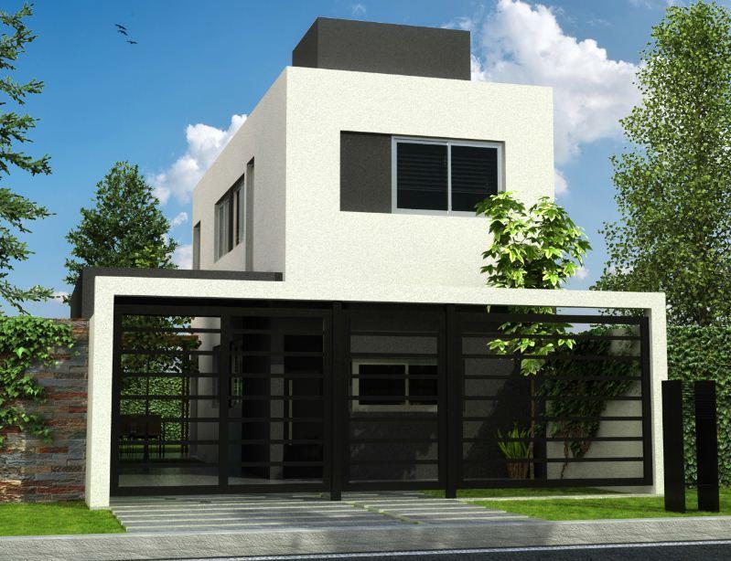 Fachadas de casas con rejas y portones for Fachada de casas modernas con porton