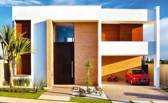 Fachadas de casas con cochera for Frente casa moderna