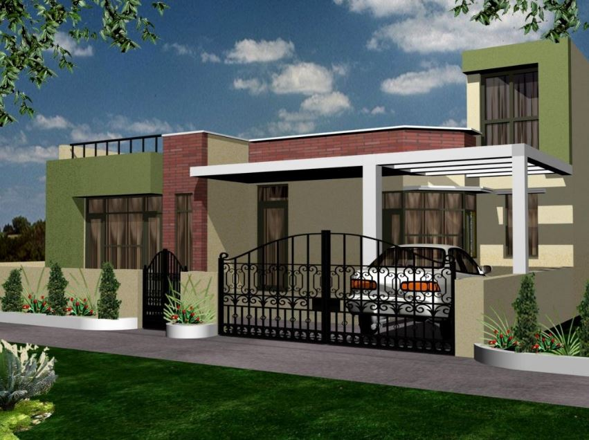 Fachadas de casas con rejas y portones for Best exterior home designs in india