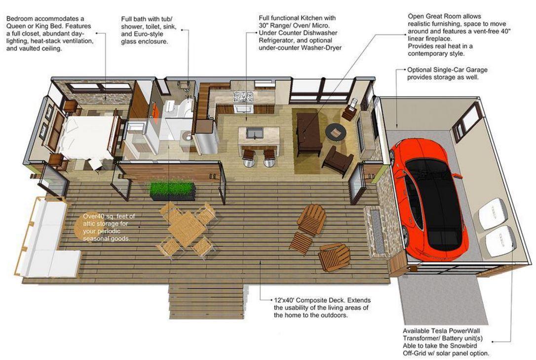 Plano de casa de 45 metros