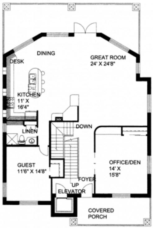 Plano de casa de tres pisos con revestimiento en piedra