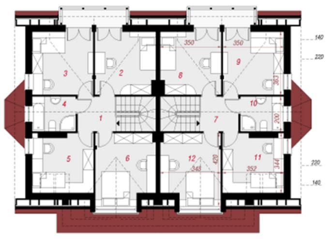 Plano de casa duplex con jardín frontal