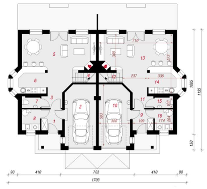 Plano de casa duplex