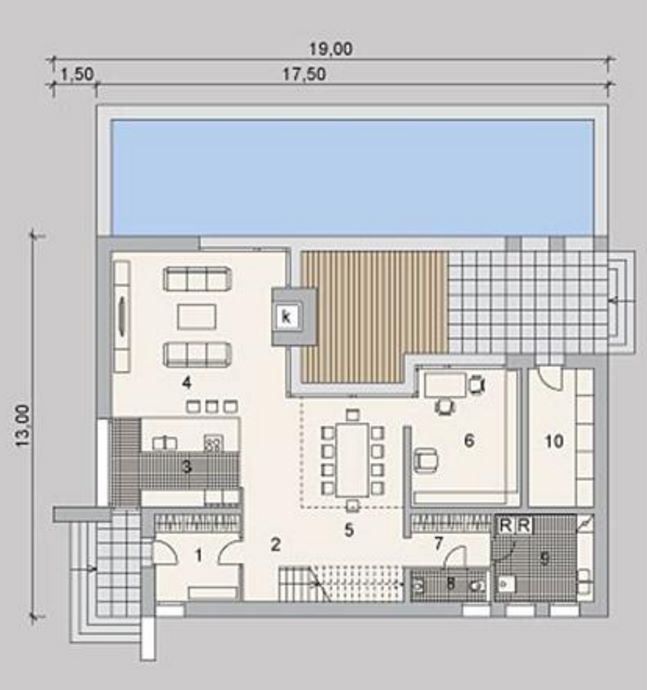 Plano de casa revestida en piedra y con estilo moderno