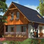 Fachada de casa con techo al suelo