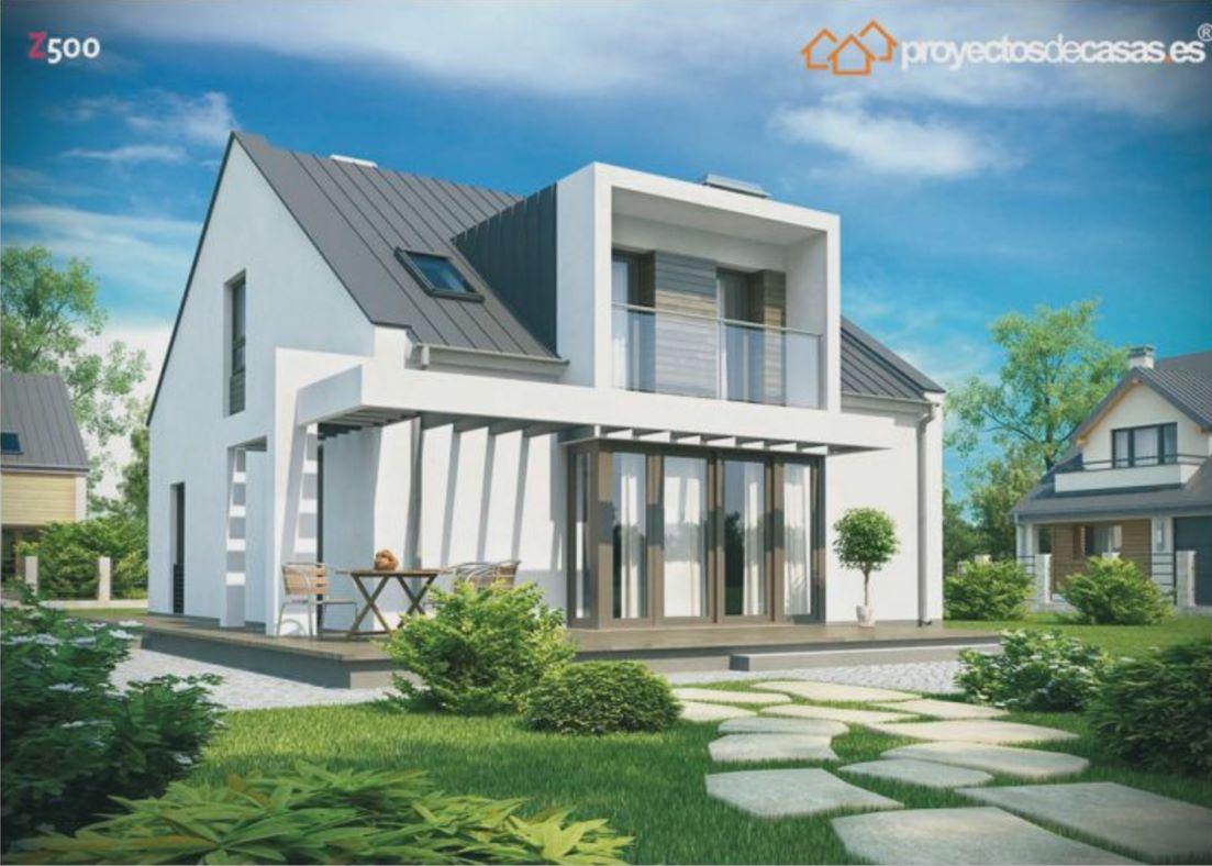 Fachada de casa moderna de 5 dormitorios