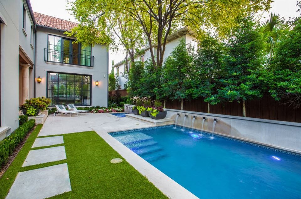 Facades of houses with swimming pools
