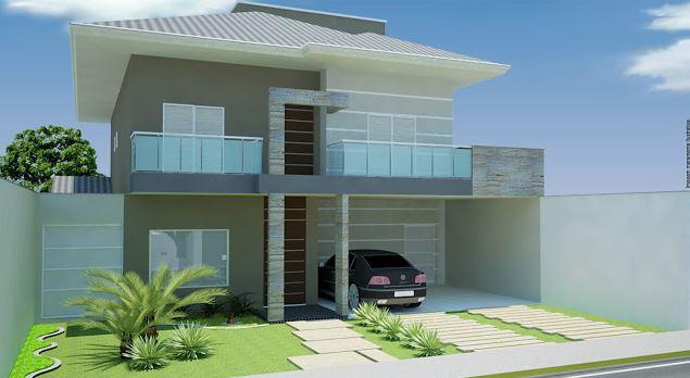 Fachadas de casas modernas de dos plantas sencillas