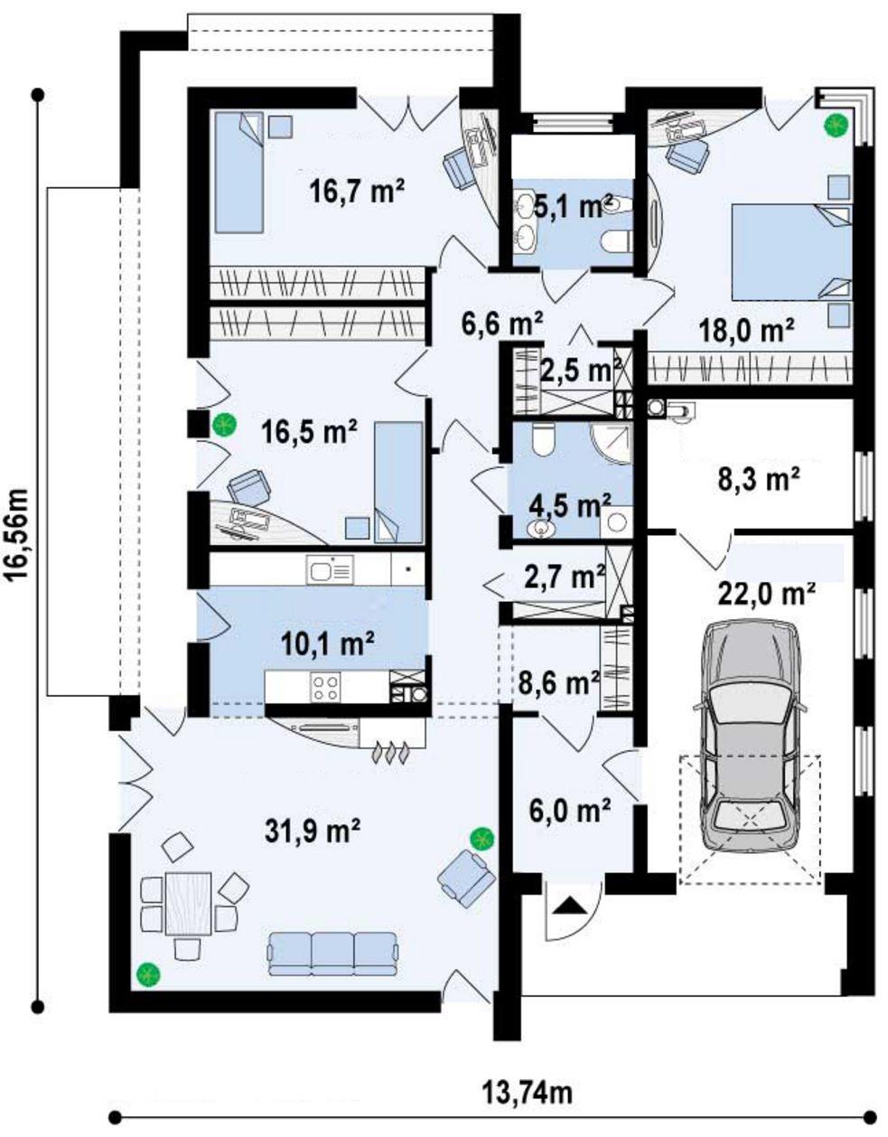 Fachadas de casas modernas part 11 for Plano casa un piso