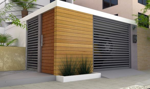 Rejas horizontales minimalistas for Puertas de frente modernas