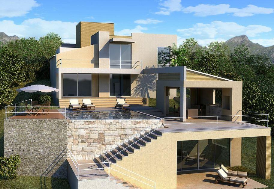 Fachadas de casas de 3 pisos for Modelo de casa con terraza
