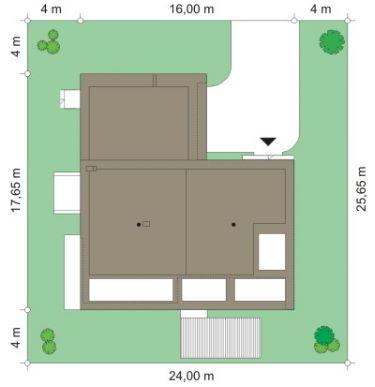 vista superior casa de esquina