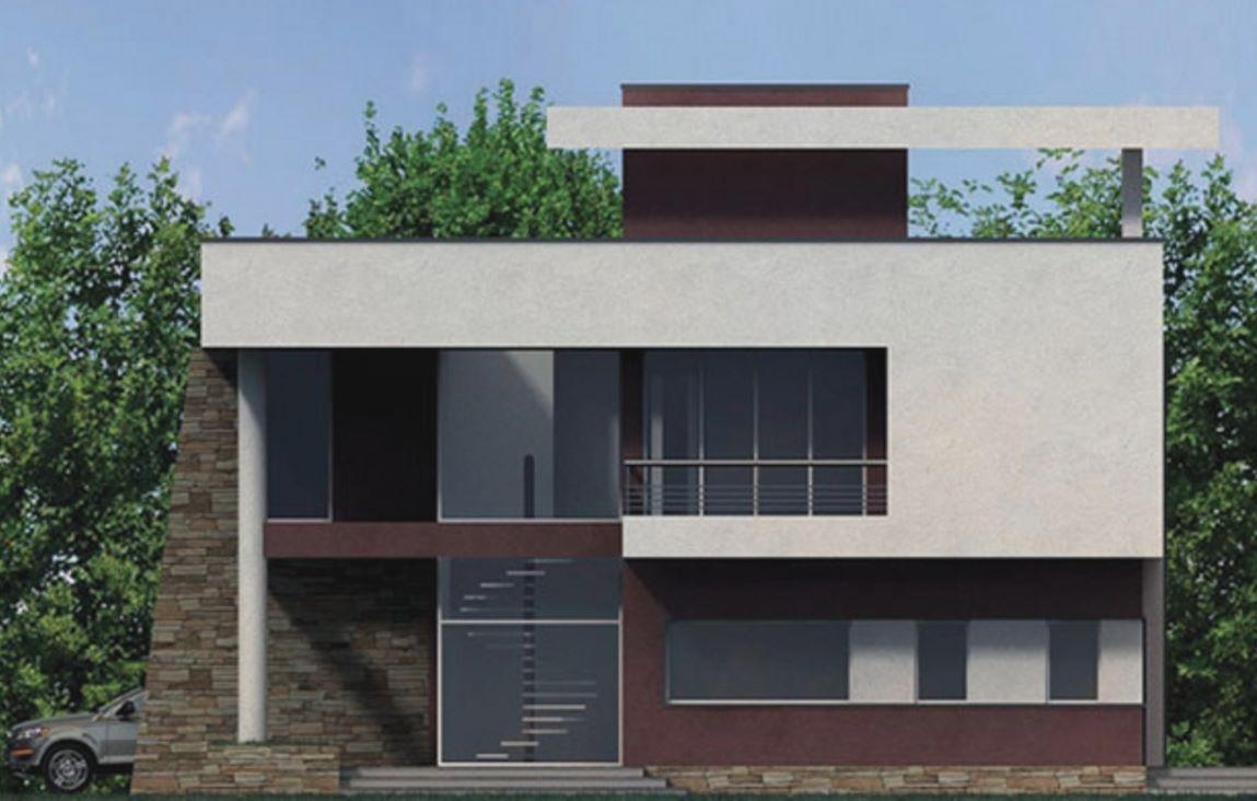 Fachada de casa con revoque grafiado