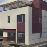 Fachada de casa de 3 pisos con revoque grafiado