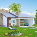 Fachadas de casas de un piso con techo a dos aguas
