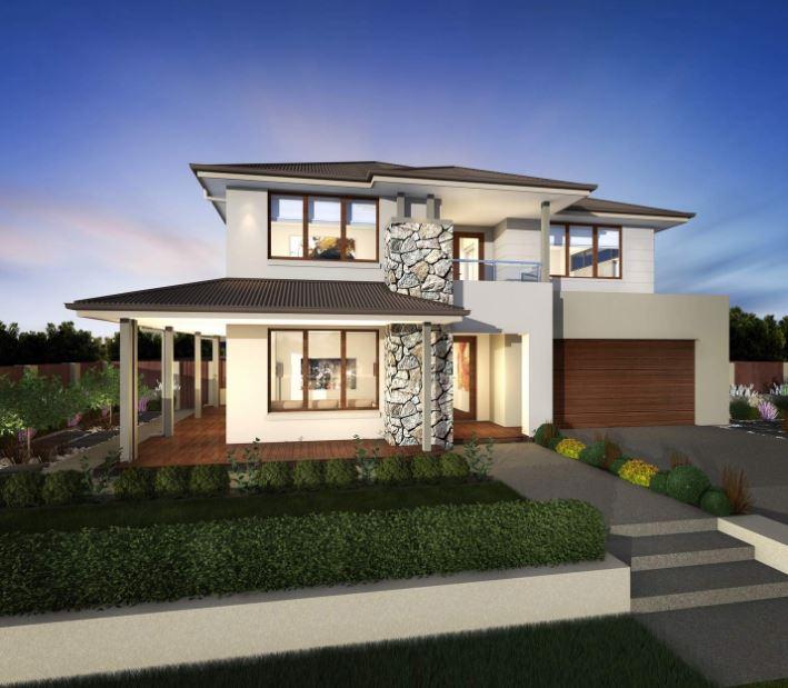 Fachadas de casas de 2 pisos for Fachadas de casas modernas con piedra de una planta