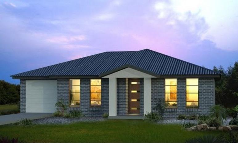 fachadas de casas de un piso con ladrillo a la vista