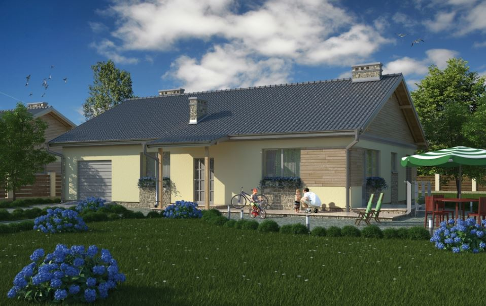 fachadas de casas con techos a dos aguas