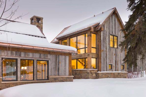 fachadas rústicas de piedra y madera
