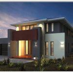 Fachada de casa de un piso con estilo moderno