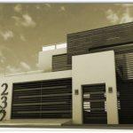 Fachada de casa mediana con estilo minimalista