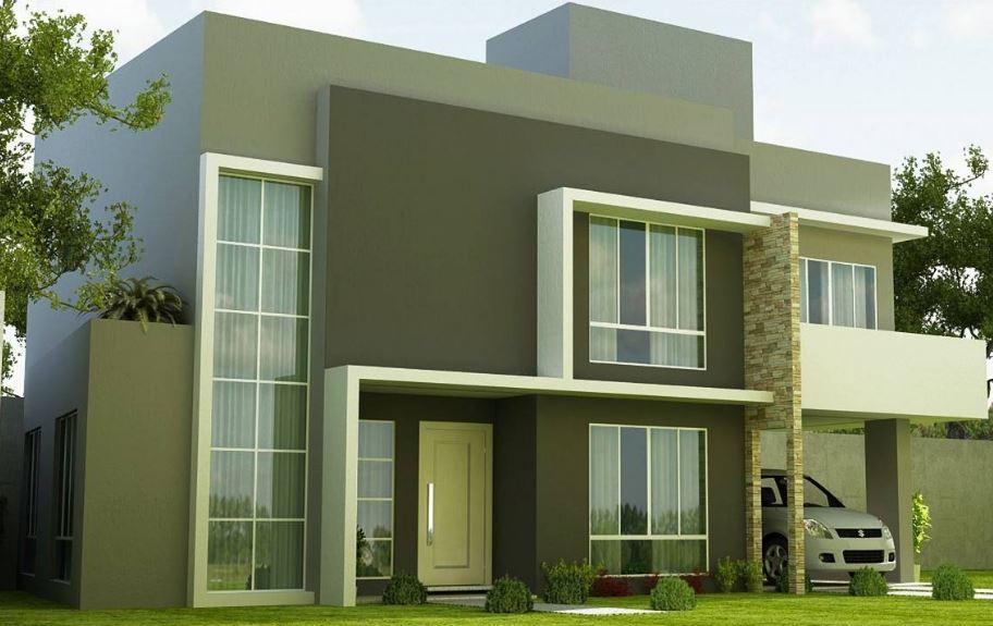 Fachadas bonitas de casas de dos pisos for Modelos de fachadas modernas para casas