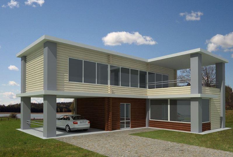 Fachada de casa de madera - Fotos de casas en forma de l ...