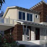 Fachada con balcón y piedras combinadas