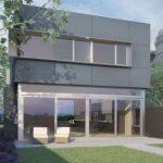 Casa moderna de dos plantas con contrafachada