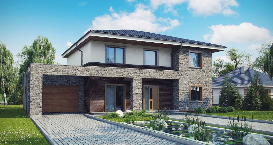 Fachada de casa moderna de dos pisos con piedra natural y for Casa moderna ladrillo