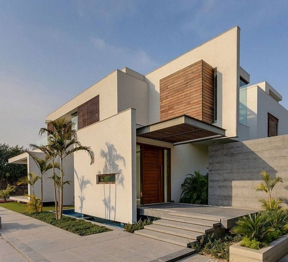 Casa moderna con entrada lateral y techo voladizo - Entrada de casas modernas ...