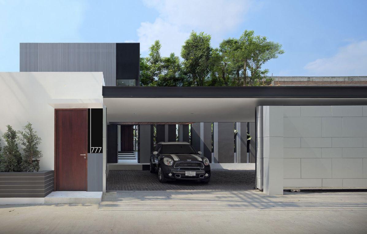 Fachadas de casas en blanco y negro for Colores de casas minimalistas