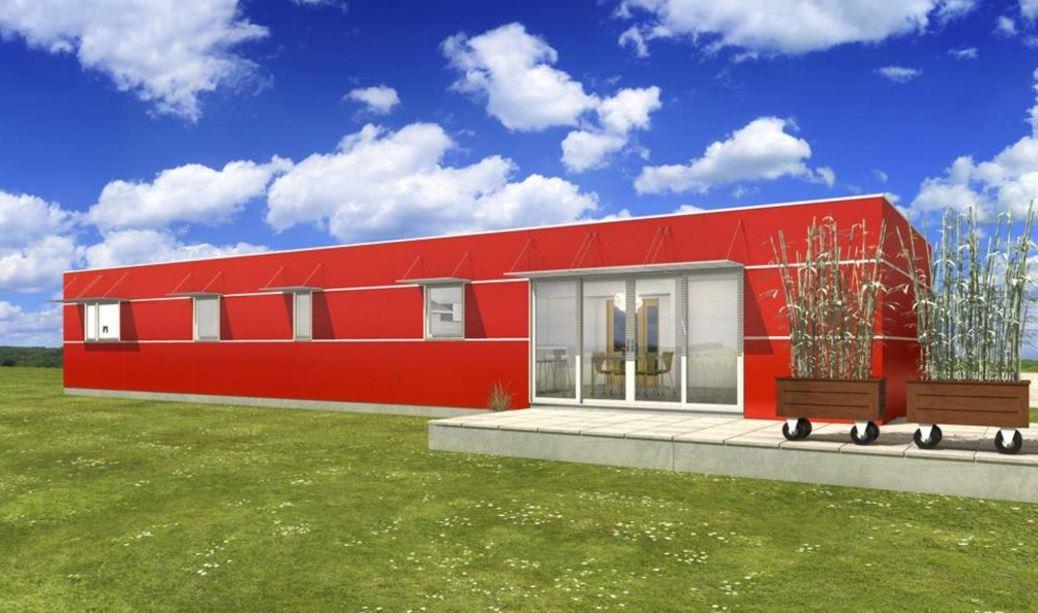 Fachadas de casas for Casa minimalista roja