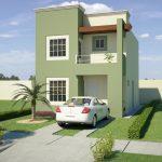 Fachada de casa en color verde cemento