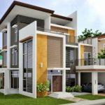 Fachada moderna de 3 pisos con balcones y ventanales