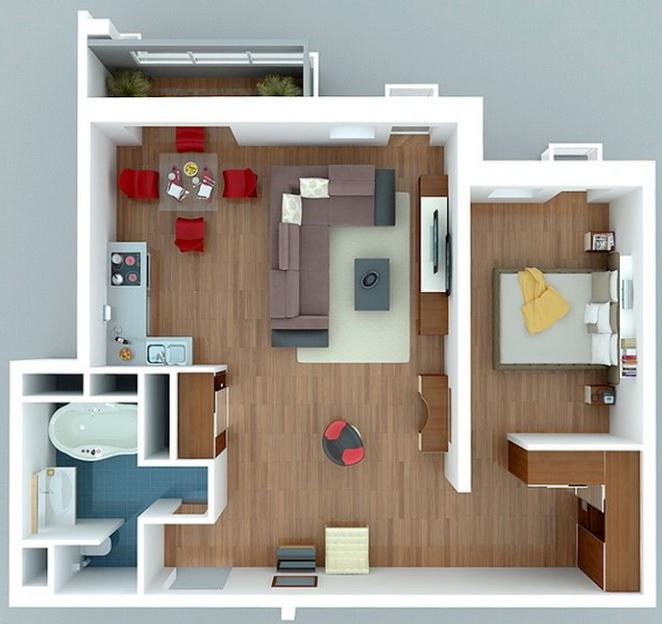 Modelos de departamentos peque os y bonitos for Disenos de apartaestudios pequenos