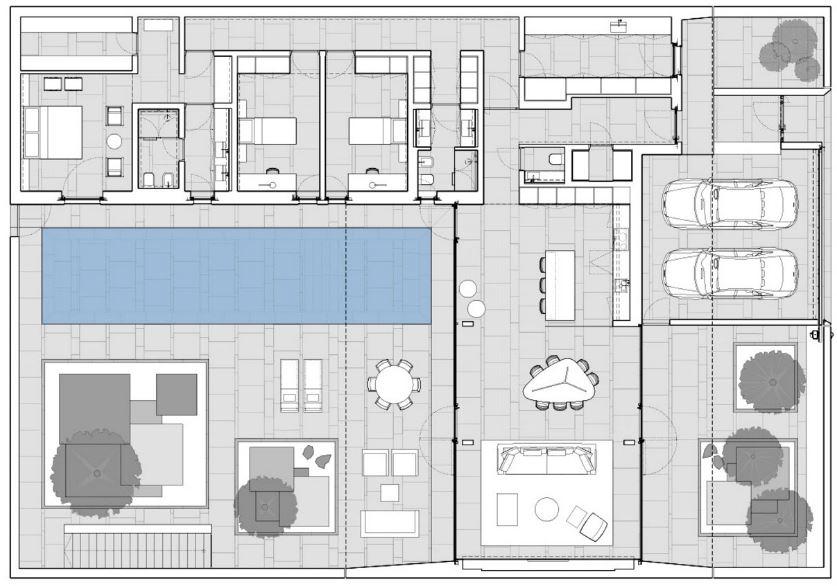 Casa minimalista una planta cool fachadas casa for Plantas arquitectonicas minimalistas