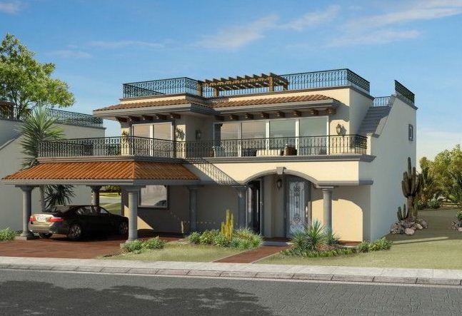 Fachadas de casas de 2 pisos for Pisos para balcones y terrazas