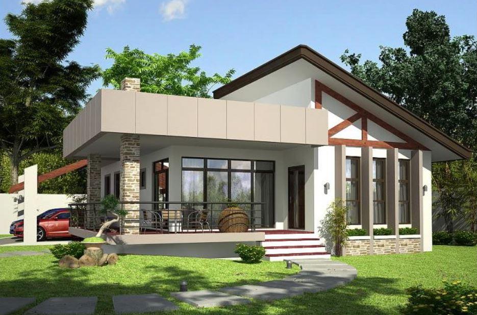 Fachada de casa moderna con galer a frontal for Casas con terraza al frente