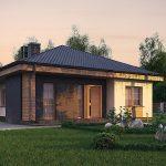 Fachada de casa con techo a 4 aguas