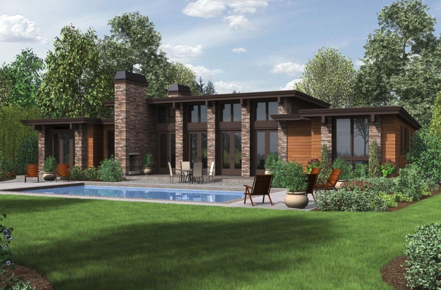 Fachada de casa con alberca for Fachadas de casas modernas con alberca