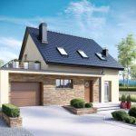 Hermosa fachada de casa con terraza sobre la cochera