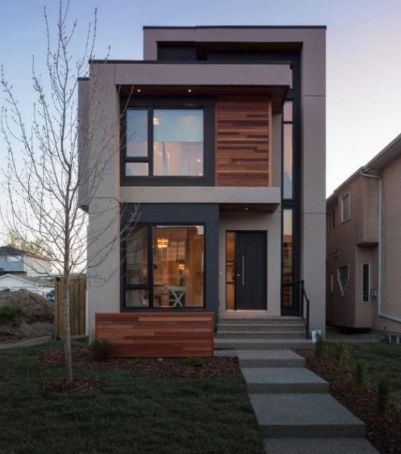 Fachada angosta de dos pisos for Fachadas de casas modernas pequenas de 2 pisos